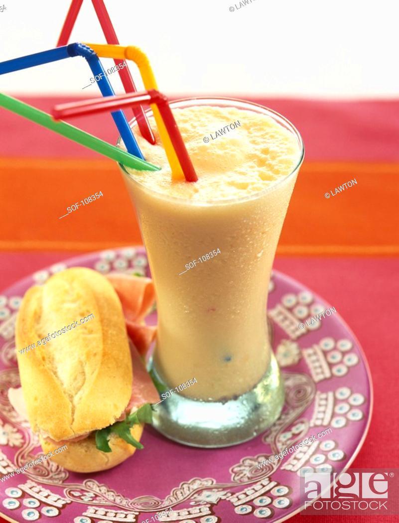 Stock Photo: Mango and carrot lassi.
