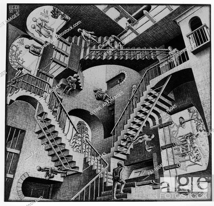 Stock Photo: Relativity. Escher, Maurits Cornelis (1898-1972). Lithograph. Modern. 1953. © Escher in het Paleis, Den Haag. 27,7x29,2. Graphic arts.