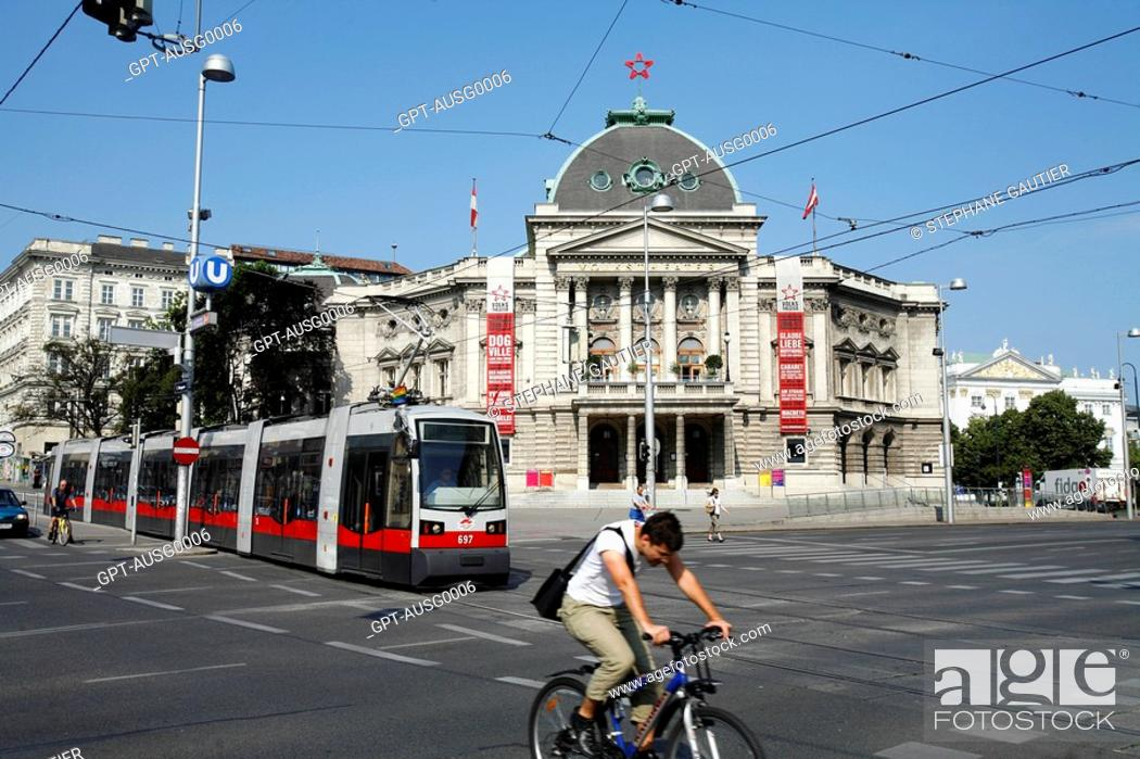 Tramway And Volkstheater Wien Vienna Austria Stock Photo Picture
