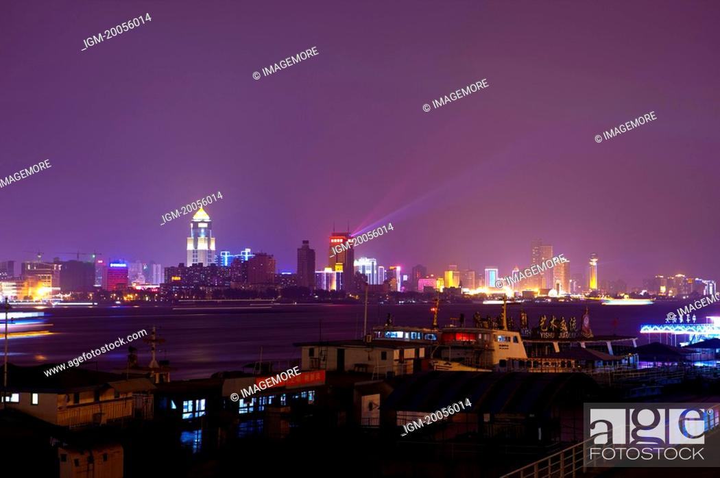 Stock Photo: China, Hubei Province, Wuhan, Hankou, Nightlife.
