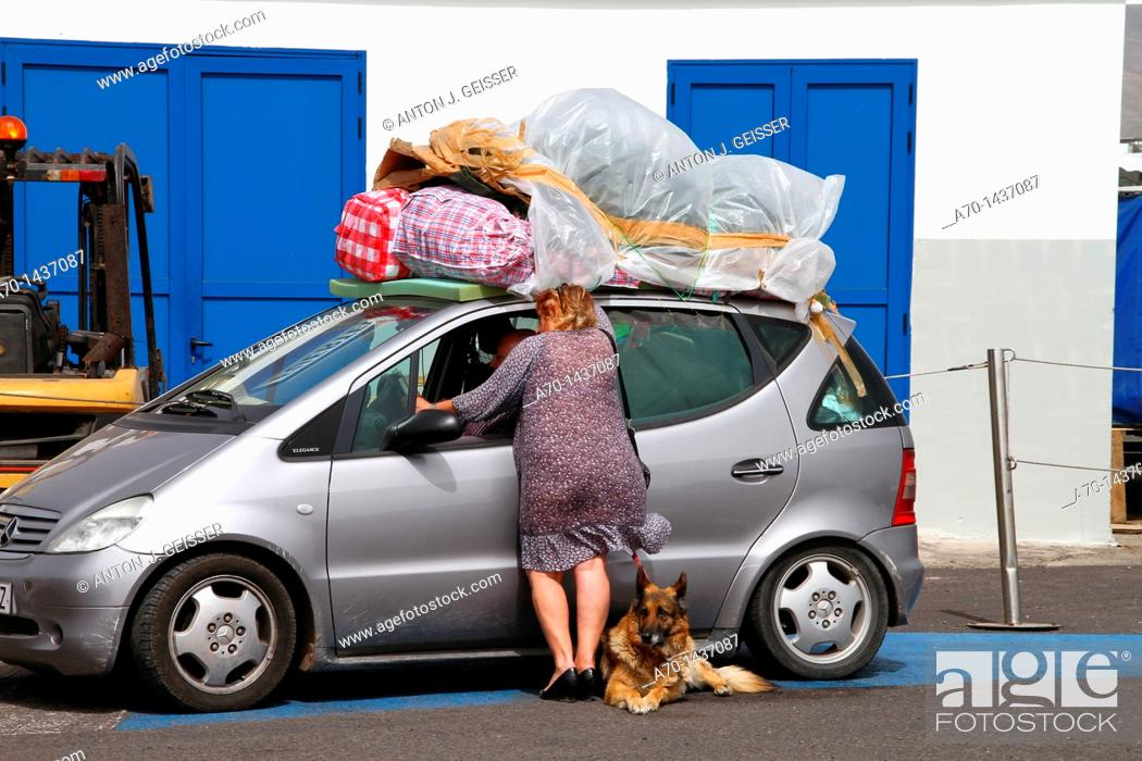 Stock Photo: Over packing car, canary islands, lanzarote.