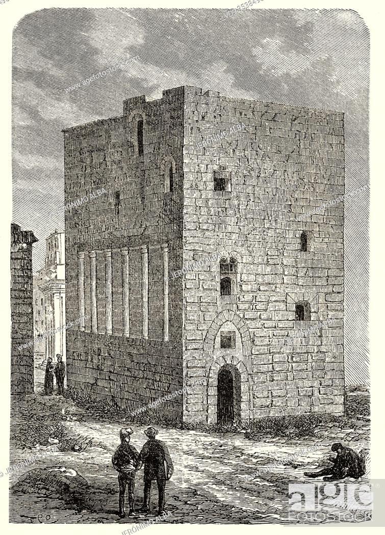 Stock Photo: Roman Praetorium, Palace of Augustus, Pilates Tower or King Castle, Tarragona. Catalonia. Spain, Europe. Old 19th century engraved illustration.