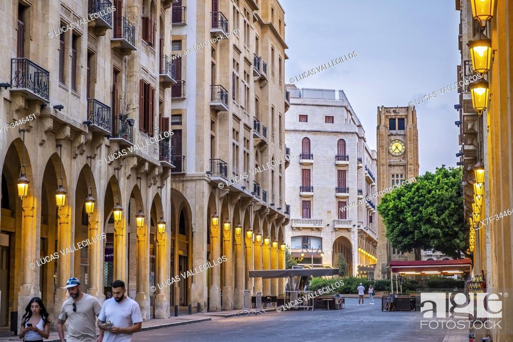 Imagen: El Omari Mosque street, in background El Nejmeh square or Star square, Downtown, Beirut, Lebanon.