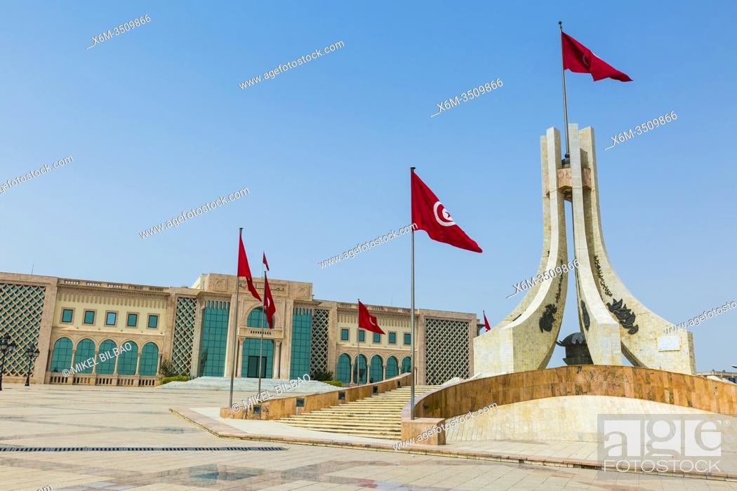Stock Photo: City Hall in Kasbah Square. Tunis city. Tunisia, Africa.