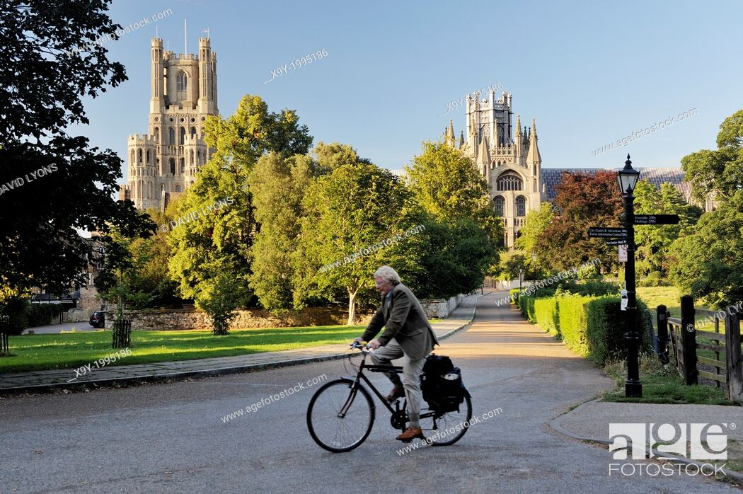 Stock Photo: Ely Cathedral, Cambridgeshire, England. The West Tower (left) and the Octagon seen from the south.