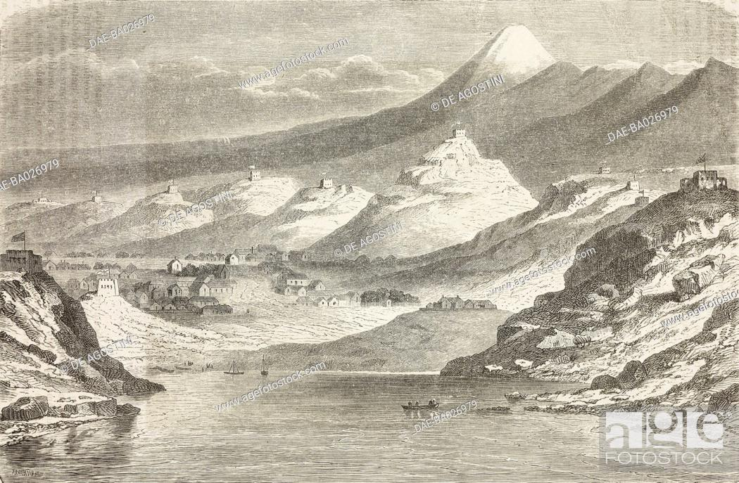 Stock Photo: View of New Plymouth and Mount Taranaki or Egmont, from Travel in New Zealand (1858-1860) by Ferdinand von Hochstetter (1829-1884).