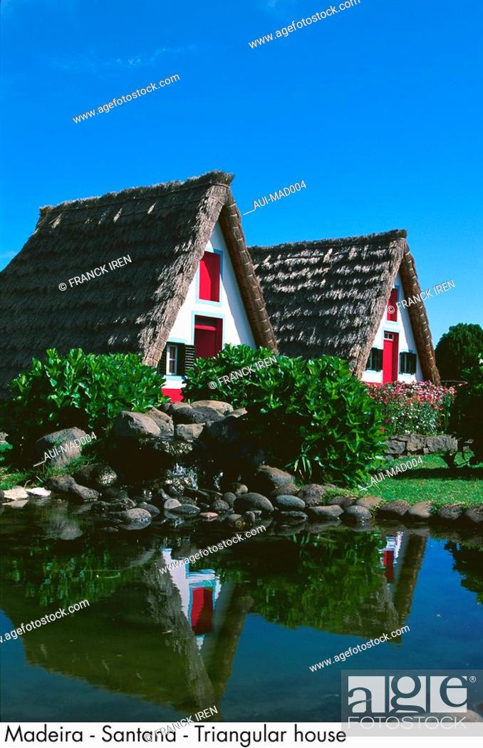 Stock Photo: Portugal - Madeira - Santana - Triangular house.