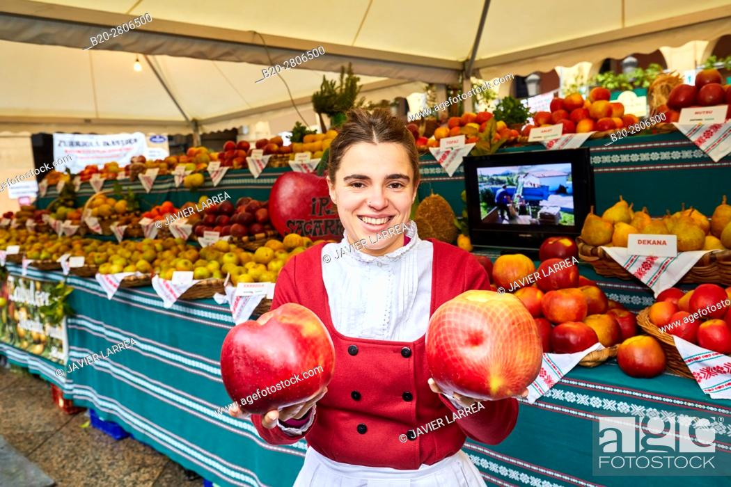 Stock Photo: Green Vegetables and Fruits, Feria de Santo Tomás, The feast of St. Thomas takes place on December 21. During this day San Sebastián is transformed into a rural.