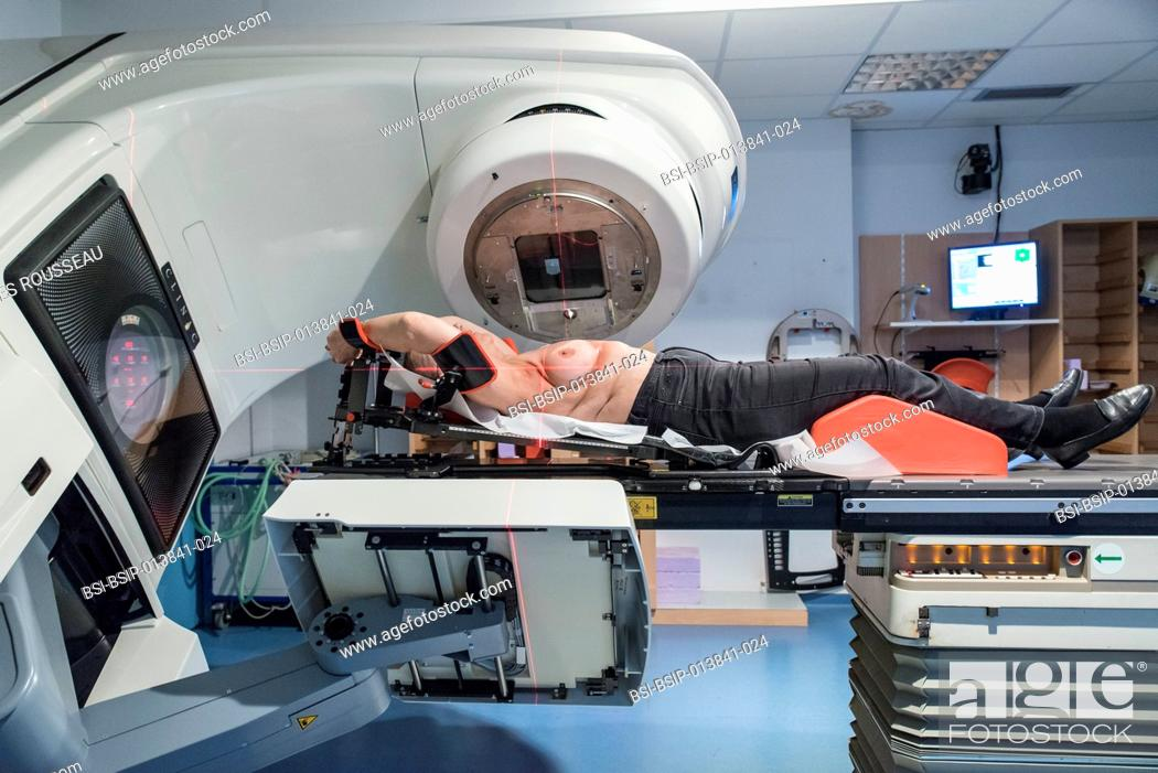 Stock Photo: Reportage in the radiotherapy centre at the Baie walk-in clinic in Avranches, France. Breast cancer treatment.