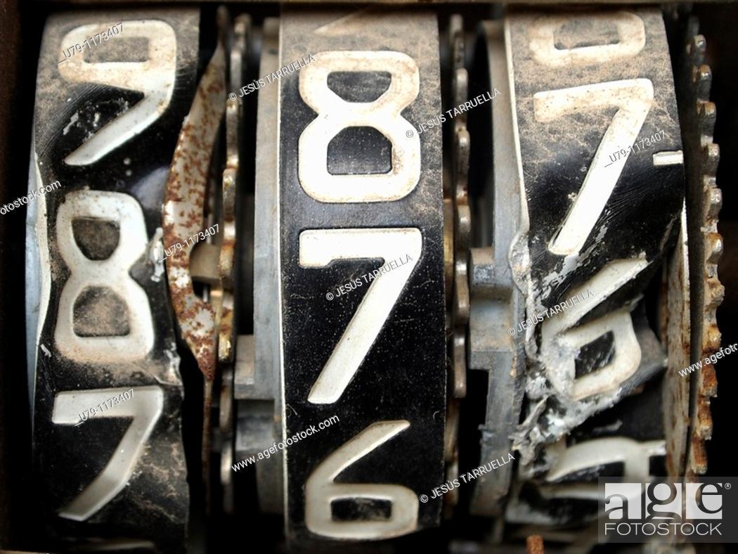 Stock Photo: Old motorcycle speedometer.