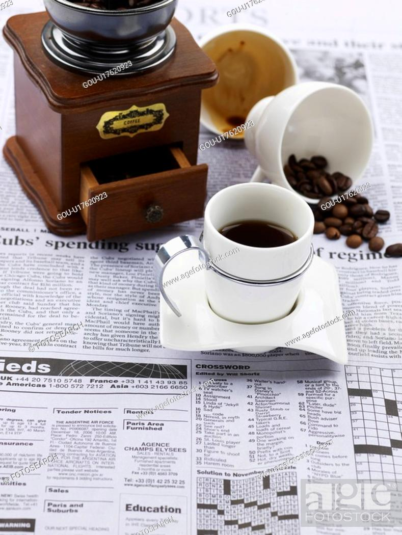 Stock Photo: food styling, saucer, coffee bean, newspaper, coffee grinder, decoration, coffee cup.