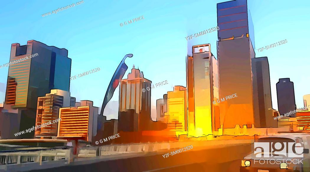 Imagen: cartoon filter view of car crossing Victoria bridge and Brisbane city skyline at sunset.