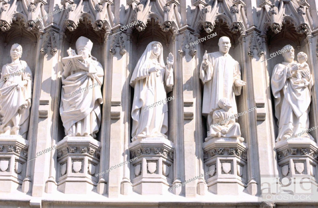 Stock Photo: Detail of sculptures on the west facade of Westminster Abbey, built in Gothic style. London. England.