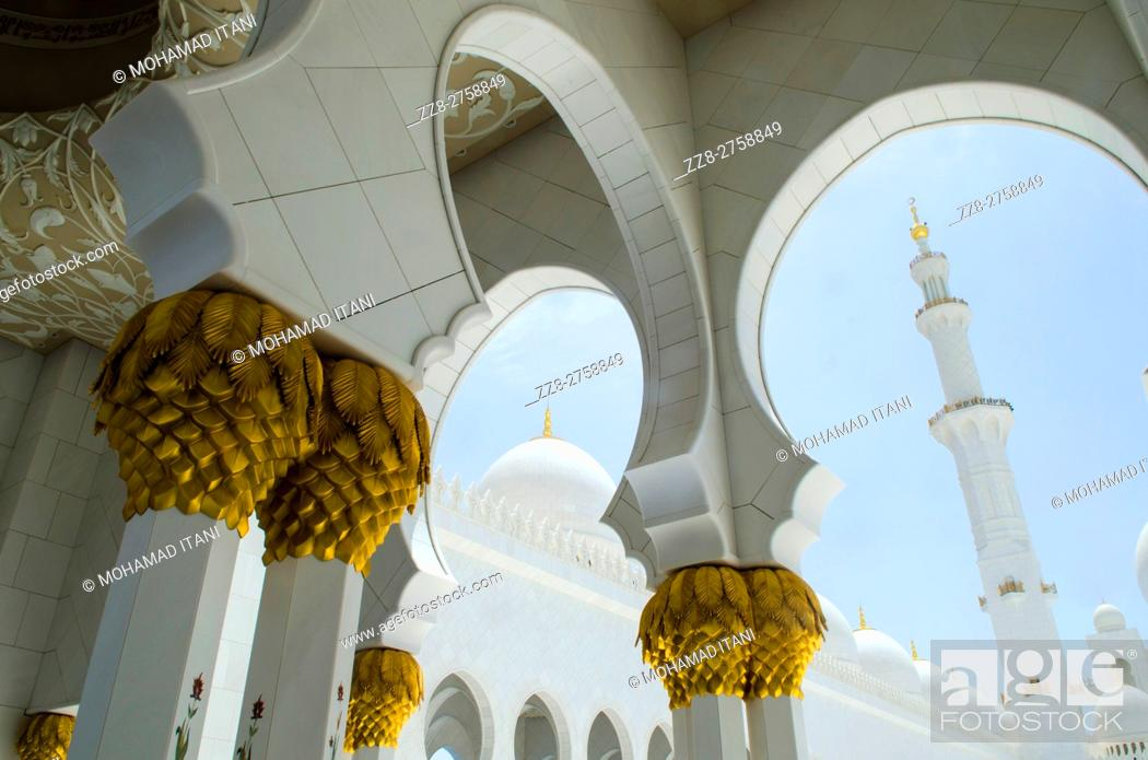 Stock Photo: Sheikh Zayed Grand Mosque building exteriors Abu Dhabi United Arab Emirates.