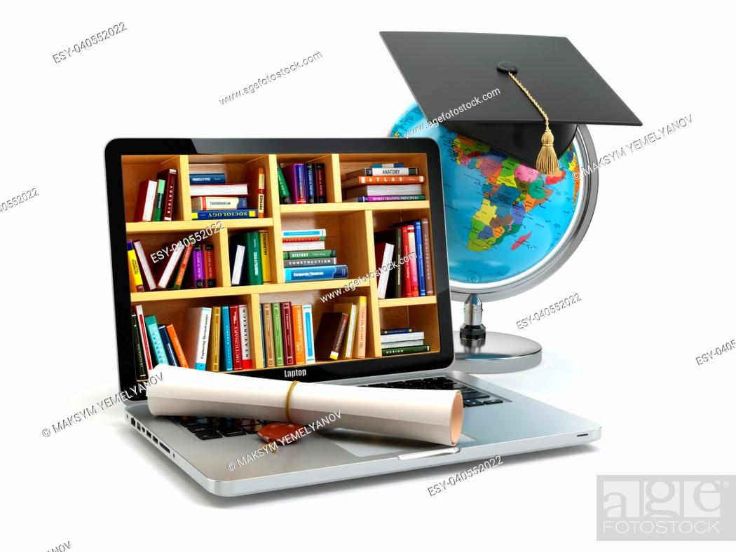 Stock Photo: Education concept. Laptop with books, globe, graduation cap and diploma. 3d.