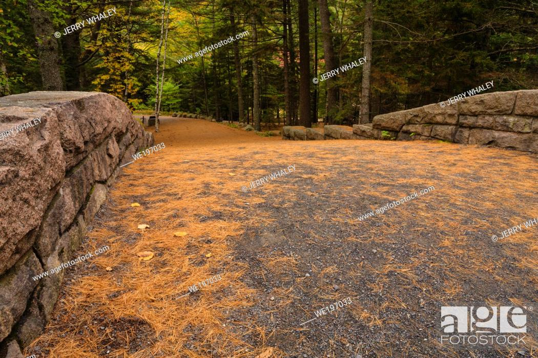 Stock Photo: Bridge at Bubble Pond in Acadia National Park on Mount Desert Island in Maine, USA.