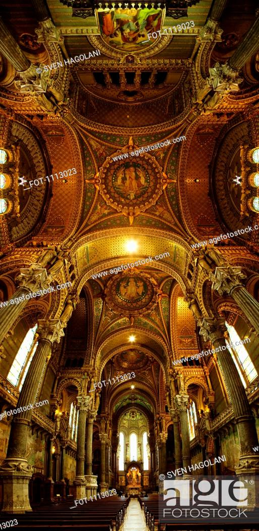 Stock Photo: Vertical panoramic interior of Basilica Notre Dame De Fourviere, Lyon, France.