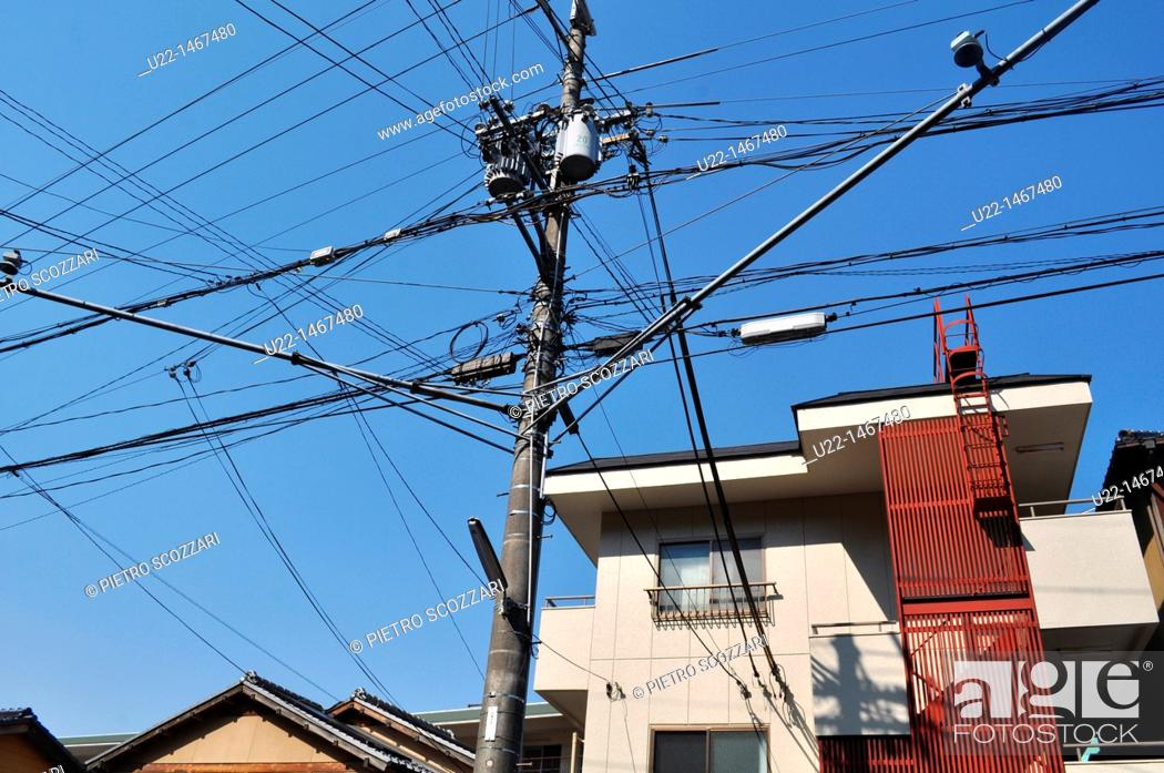 Stock Photo: Kyoto (Japan): electric wires mess in the city centre.