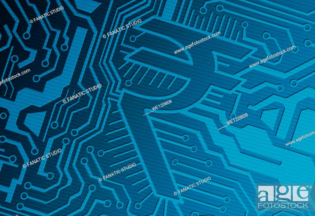 Stock Photo: Blue computer circuit board with rupee symbol representing IT industry.