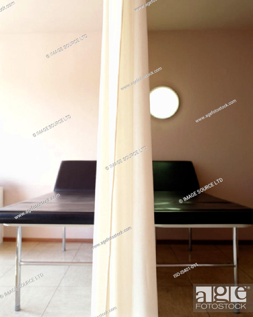 Stock Photo: Treatment couches in hospital.