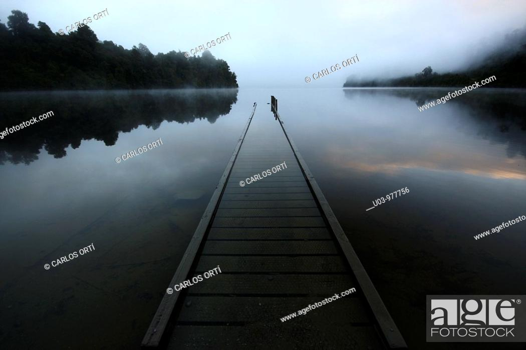 Stock Photo: Pier in a lake in the South Island  Landscape of New Zeland.