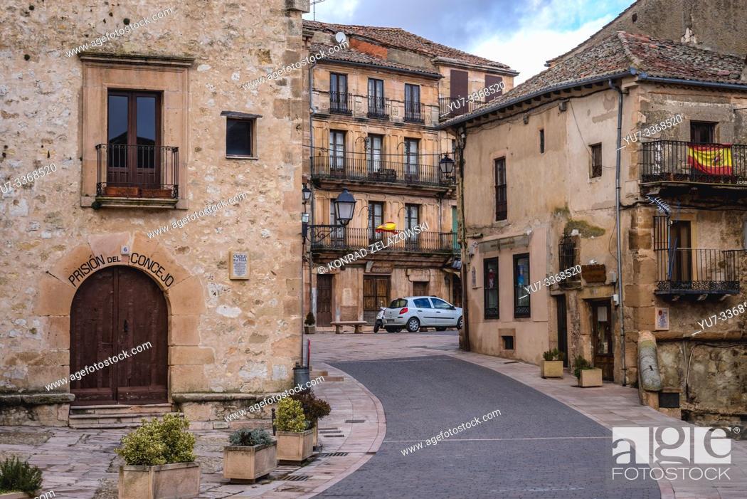 Stock Photo: Plaza del Trigo in Sepulveda town in Province of Segovia, Castile and Leon autonomous community in Spain.
