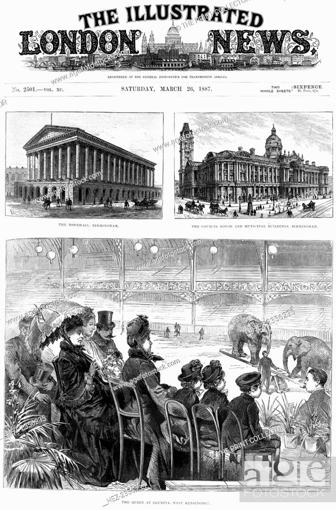Queens Jubilee Festival Antique Print 1887 Illustrated London News Offices