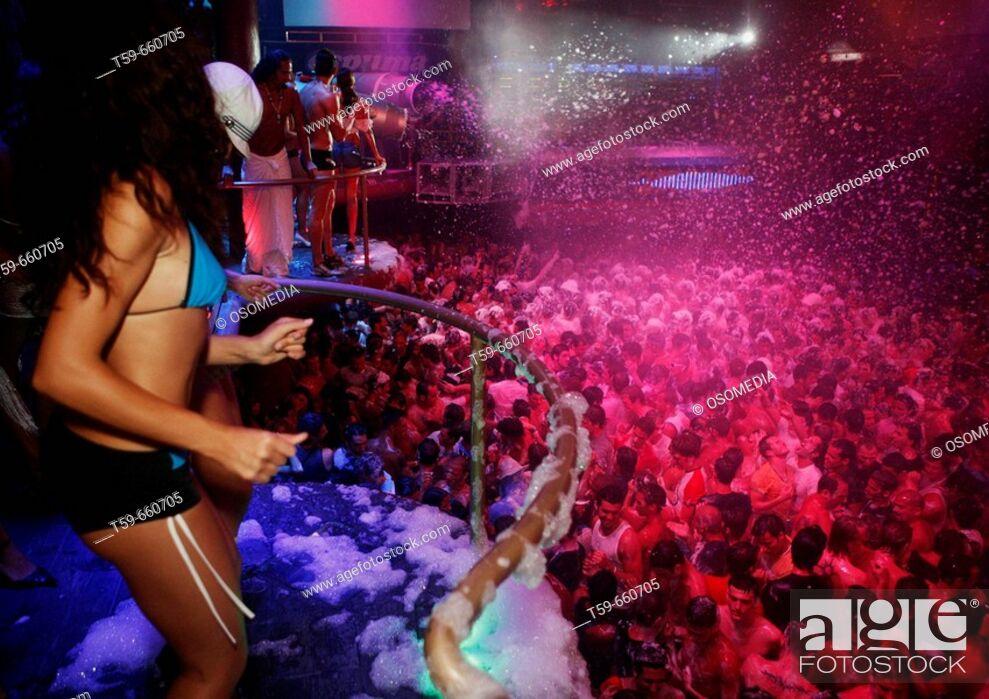 Stock Photo: 'Espuma' party. Amnesia club. Ibiza. Balearic islands. Spain.
