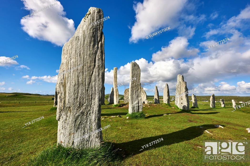 Stock Photo: Monolithic stone of Calanais Neolithic Standing Stone (Tursachan Chalanais) , Isle of Lewis, Outer Hebrides, Scotland.