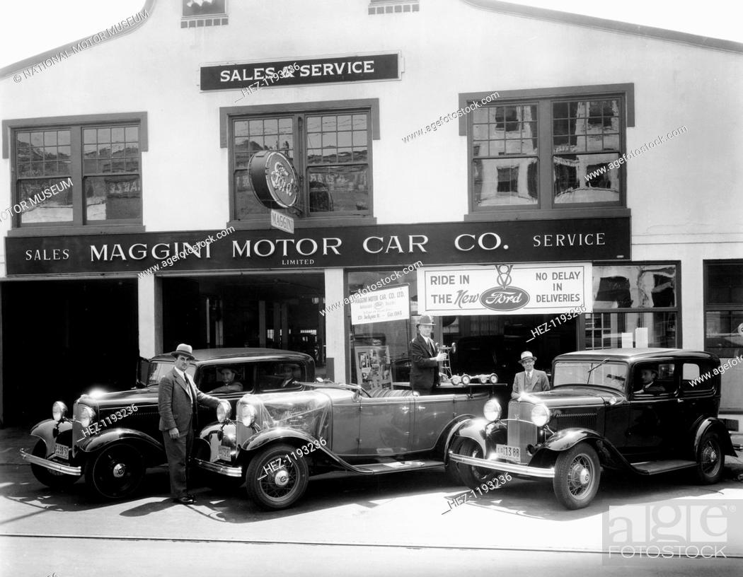 1932 Ford V8 in front of a car showroom, (c1932?)  In 1932