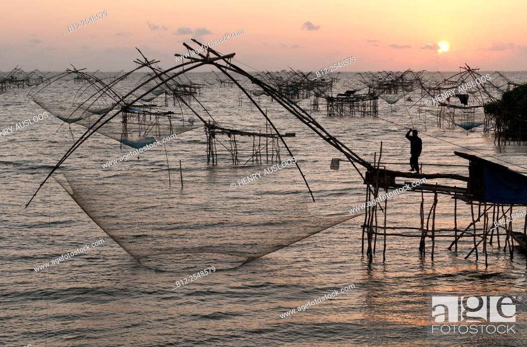 Stock Photo: Shore-operated lift net, on sunrise, Phatthalung, Southern Thailand.