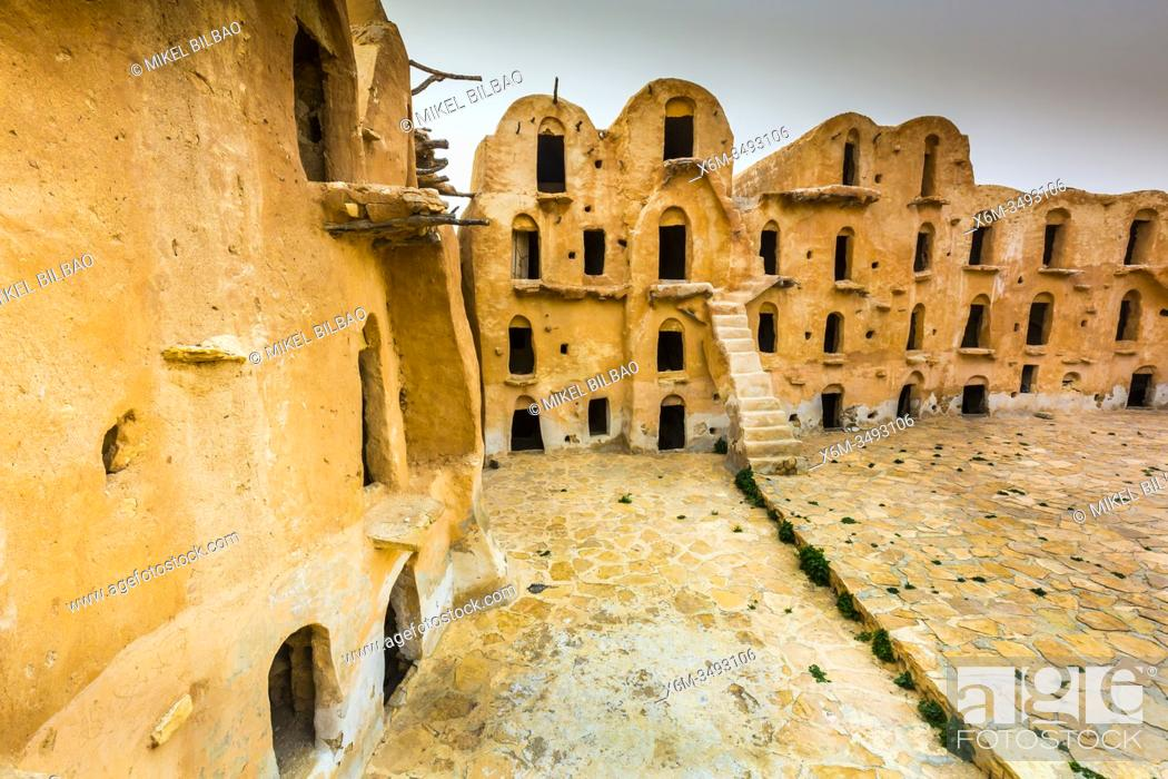 Stock Photo: Fortified granaries (ksar) courtyard. Ksar Ouled Soltane village. Tataouine district, Tunisia, Africa.
