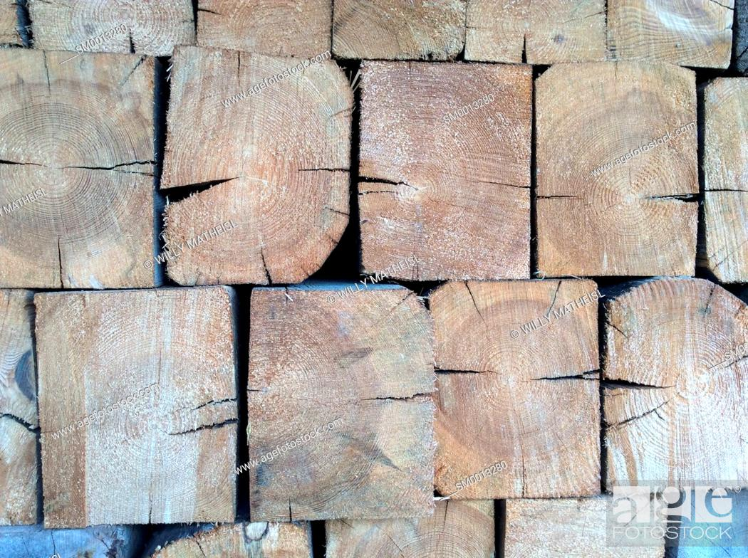 Stock Photo: pile of wooden beams.