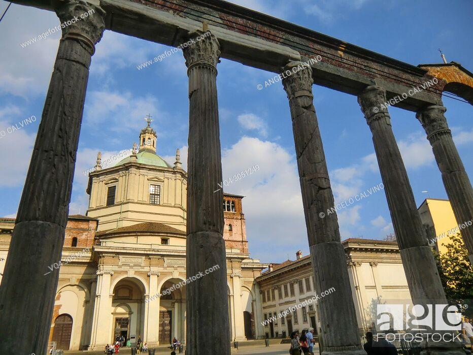 Imagen: Basilica di San Lorenzo Maggiore, Roman Column, Milano, Milan, Lombardy, Italy, Europe.