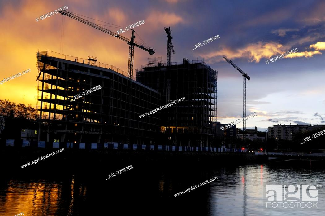 Stock Photo: buildings under construction in banks of loyola, Basque Country, guipuzcoa, Spain.