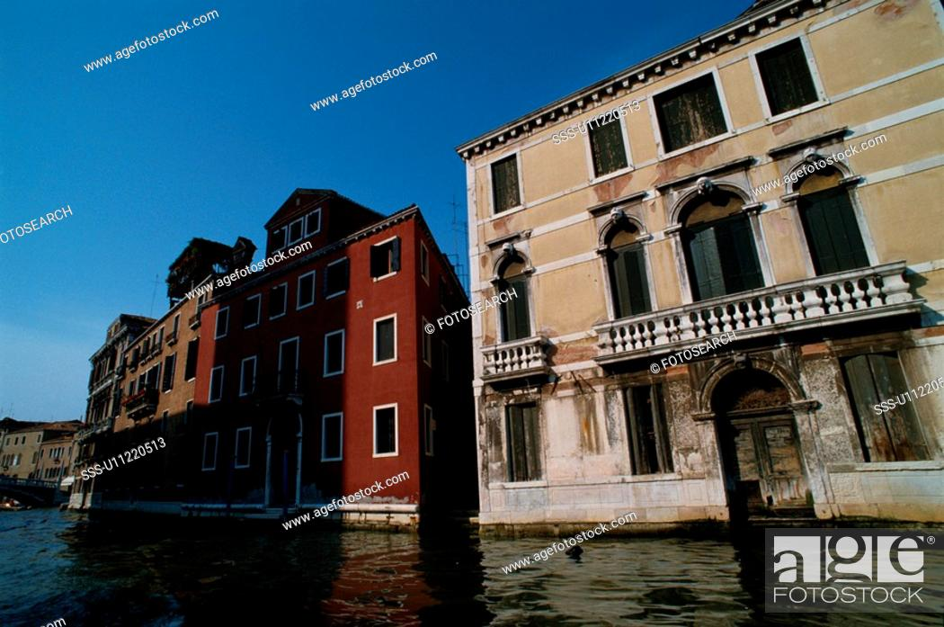 Stock Photo: Buildings By Canal.