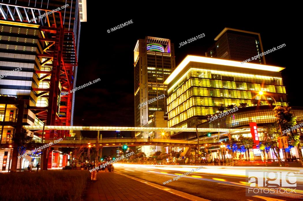 Stock Photo: Taiwan, Taipei, Xinyi Commercial Center.