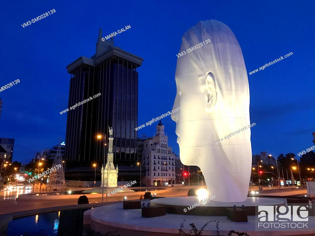 Stock Photo: Julia sculpture, by Jaume Plensa, night view. Colon Square, Madrid, Spain.