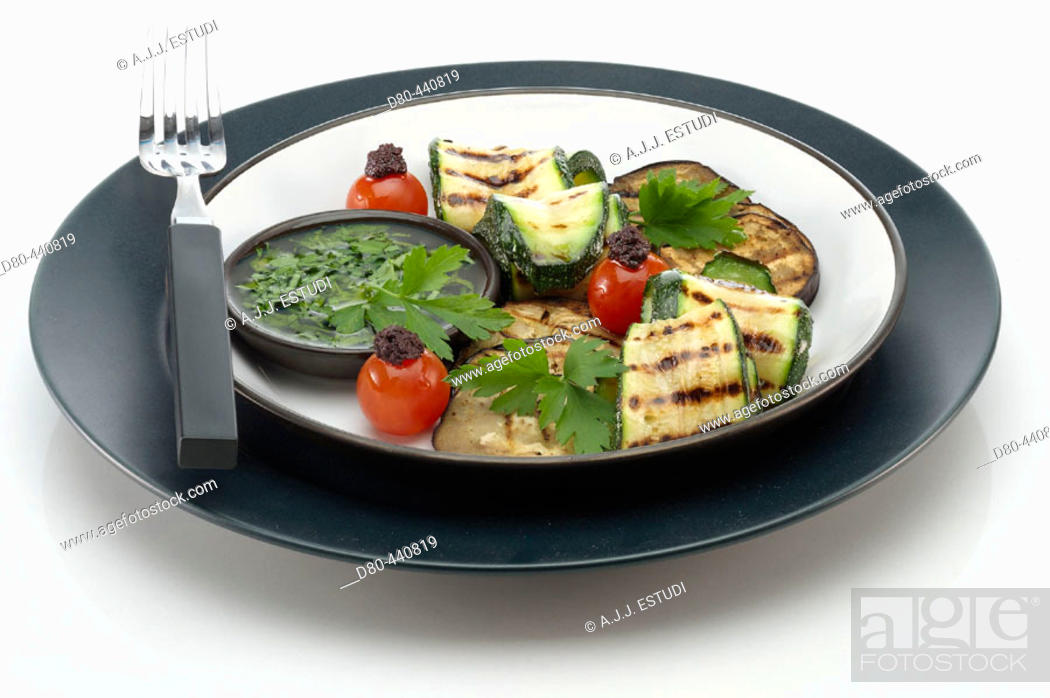Stock Photo: Grilled aubergine and courgette.