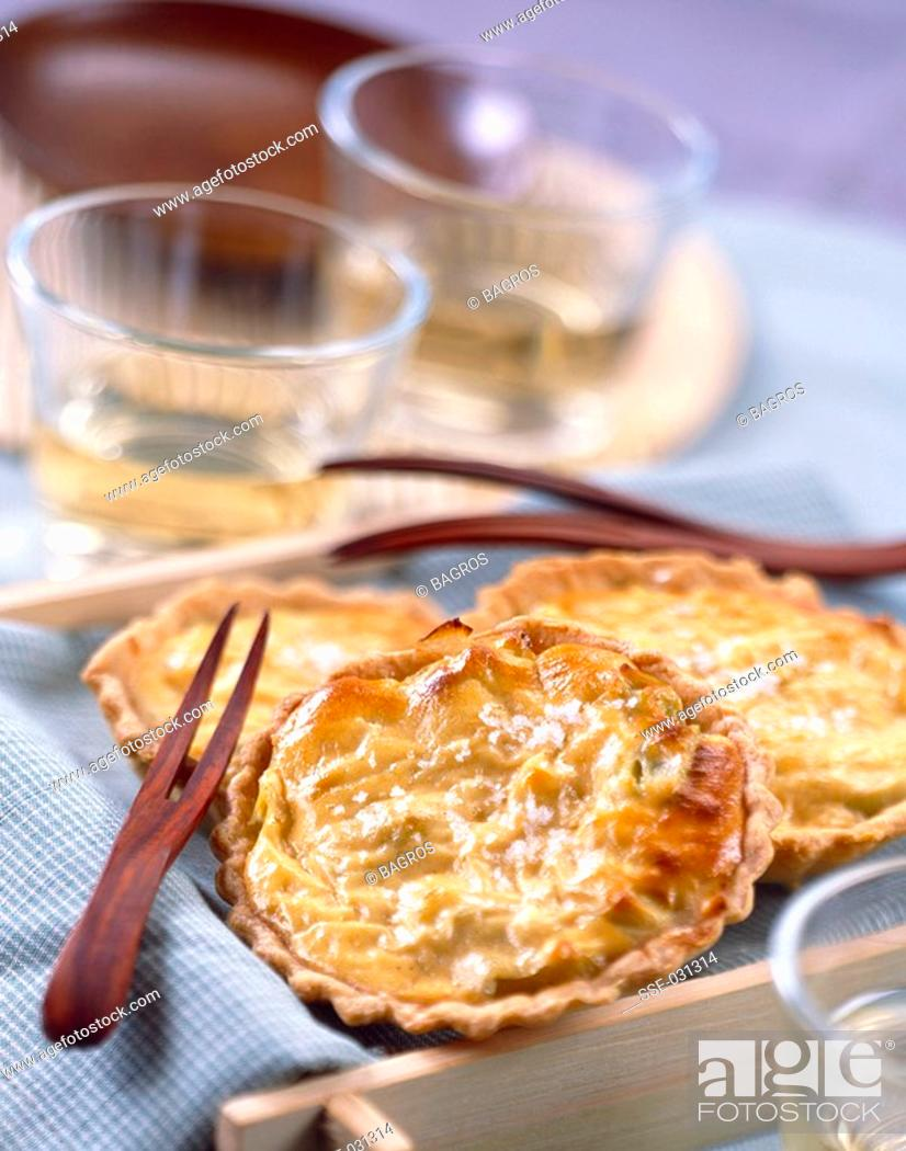 Stock Photo: individual leek and lobster bisque tarts topic: lobster bisque.
