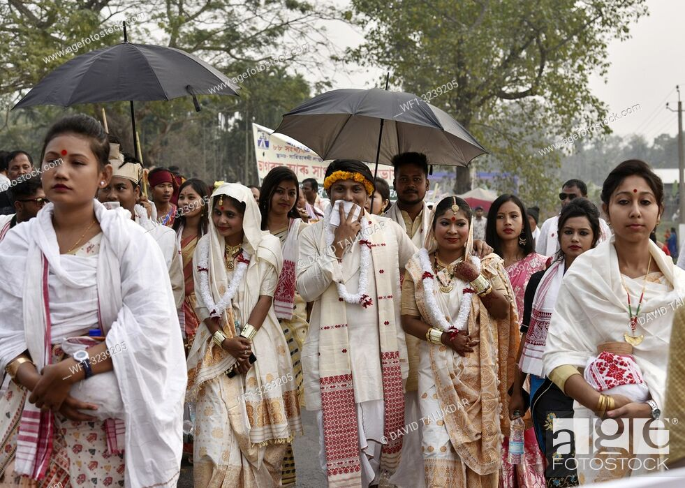 Stock Photo: Marigaon, Assam, India. 8 Feb. 2019. Cultural procession with elephants during 88th session of Srimanta Sankardev Sangha Adhibeshan at Marigaon.
