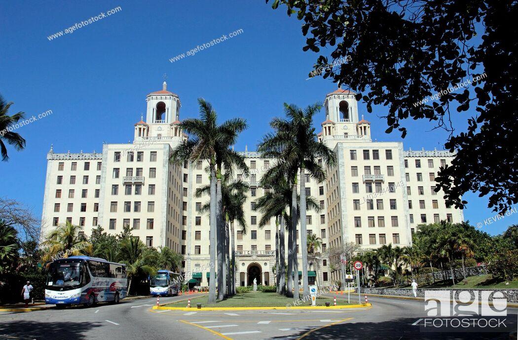 Stock Photo: Famous Art Deco Hotel National in Vedado area Havana Cuba.