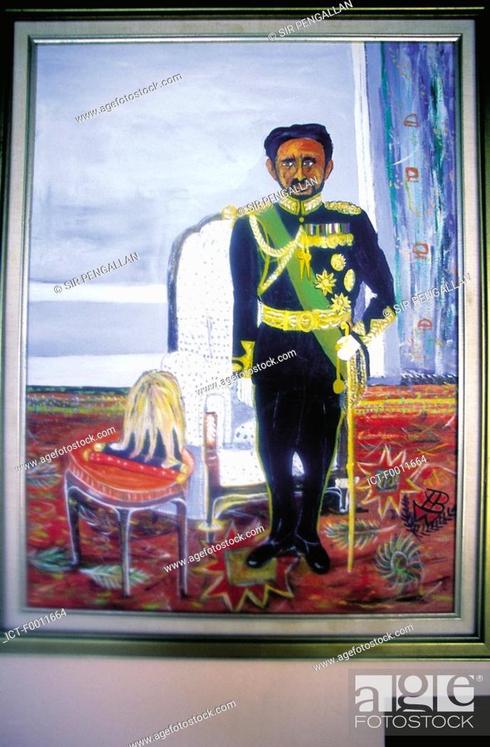 Stock Photo: Jamaica, Montego Bay, rastas idol, king Haile Selassie.
