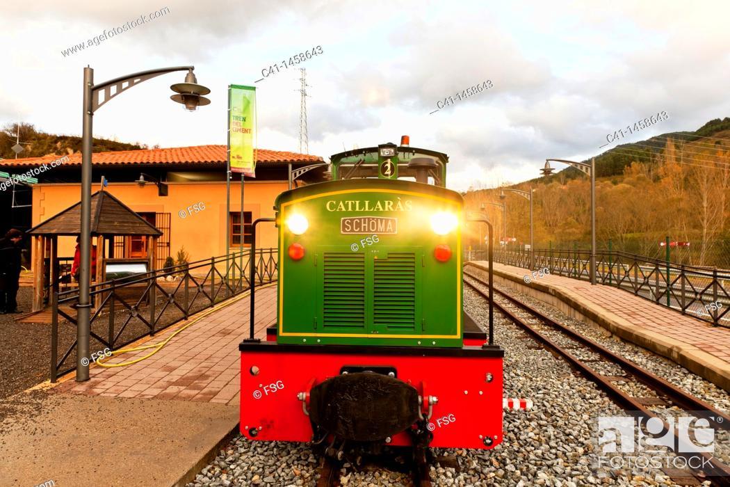 Stock Photo: Touristic train, La Pobla de Lillet, Barcelona province, Catalonia, Spain.