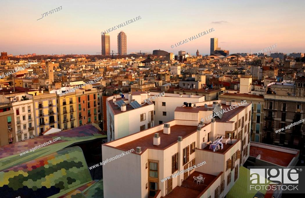 Stock Photo: Barcelona: From left to right, Mapfre tower, Hotel Arts, Barcelona Biomedical Research Park building and Mare Nostrum tower  Down, at left.