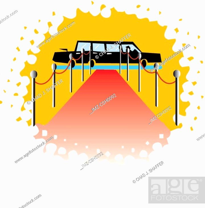 Stock Photo: An illustration of a red carpet and a limousine.