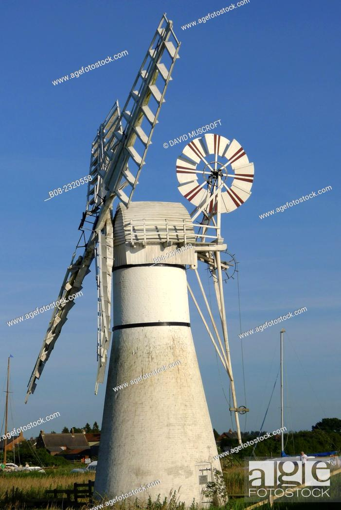 Stock Photo: Leisure boats and the windmill, Thurne, Norfolk Broads, Britain.