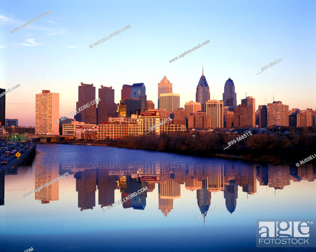 Stock Photo: River Schuylkill, Downtown Skyline, Philadelphia, Pennsylvania, Usa.