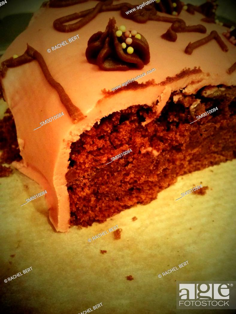Stock Photo: Portion of home made cake.