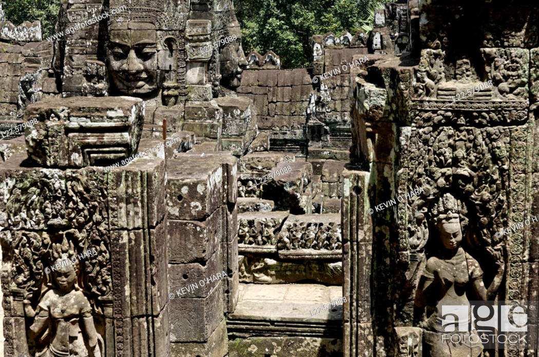 Stock Photo: Ta Prohm temple, mid XIIth century, early XIIIth century AD. Buddhist. Temples of Angkor. Siem Reap area. Kingdom of Cambodia.
